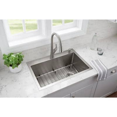 Brushed Stainless Steel 30 in. 2-Hole 18-Gauge Tight Radius Single Bowl Dual Mount Kitchen Sink with Grids and Strainers