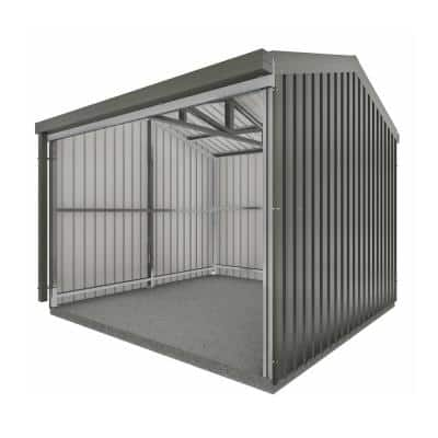 Rural 10 ft. x 10 ft. x 8 ft. Woodland Gray Metal Shed