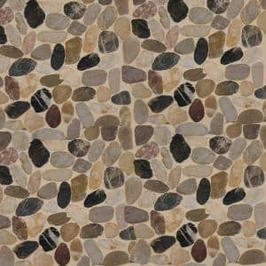 Mix River Rock 12 in. x 12 in. x 10 mm Textured Marble Mesh-Mounted Mosaic Tile (10 sq. ft. / case)