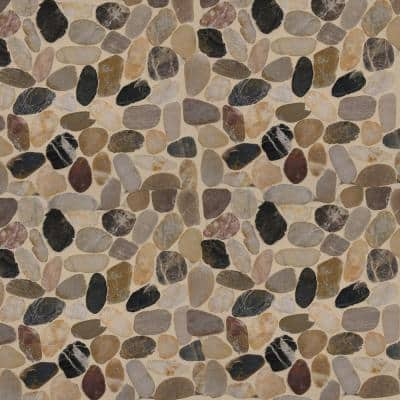Take Home Tile Sample - Mix River Rock 12 in. x 12 in. x 10 mm Textured Marble Mesh-Mounted Mosaic Tile - 6 in. x 6 in