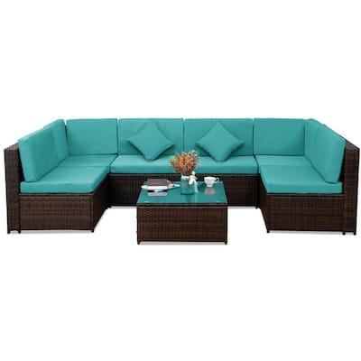 7-Piece Outdoor Blue Patio Furniture Set PE Rattan Sectional  Corner Sofa with 2 Pillows