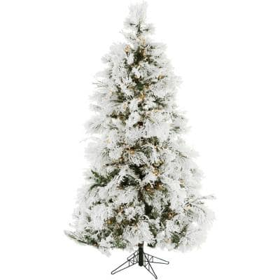 6.5 ft. Frosted Fir Snowy Artificial Christmas Tree with Clear Smart String Lighting