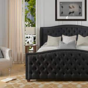 Marcella Jet Black King Upholstered Bed