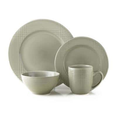 16-Piece Casual Gray Ceramic Dinnerware Set (Service for 4)