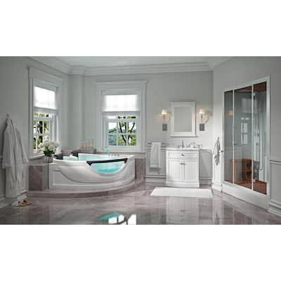 60 in. Center Drain Corner Alcove Whirlpool Bathtub in White