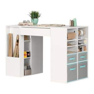 Crea Pure White Counter-Height Craft Table with Storage