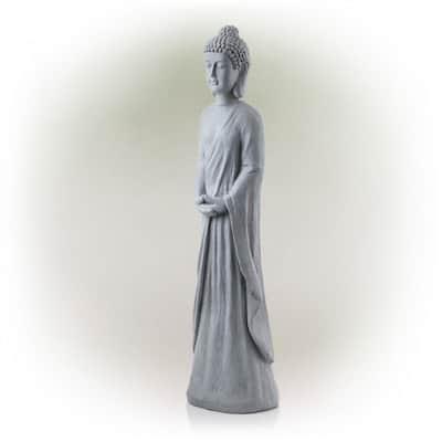 32 in. Tall Cement Standing Buddha Outdoor Garden Statue, Gray