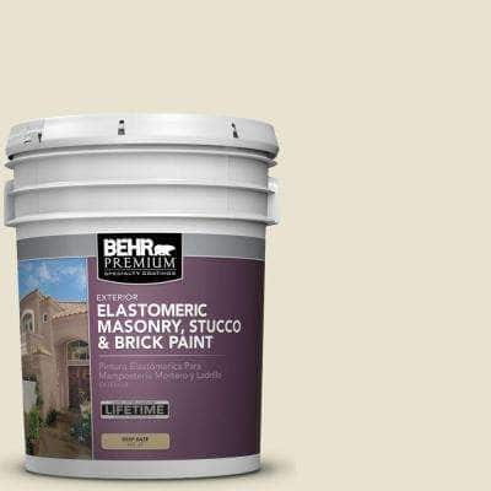 5 gal. #MS-33 Eggshell White Elastomeric Masonry, Stucco and Brick Exterior Paint
