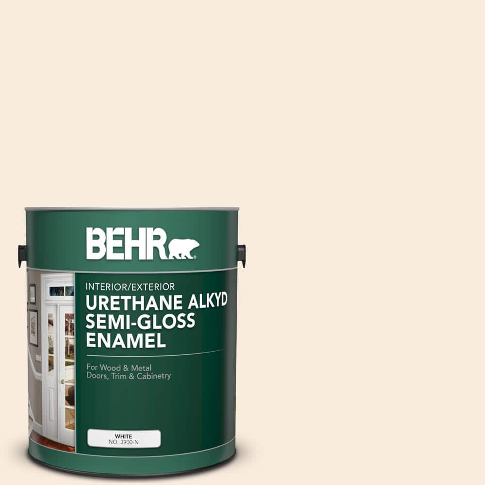 Behr 1 Gal Ae 190 Linen White Urethane Alkyd Semi Gloss Enamel Interior Exterior Paint 390001 The Home Depot