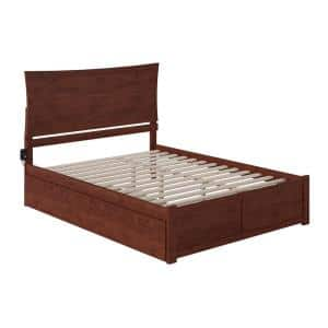 Metro Walnut Queen Bed with Footboard and Twin Extra Long Trundle