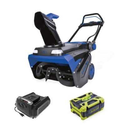 21 in. 100-Volt Brushless Lithium-iON Single Stage Cordless Electric Snow Blower Kit with 5.0 Ah Battery + Charger