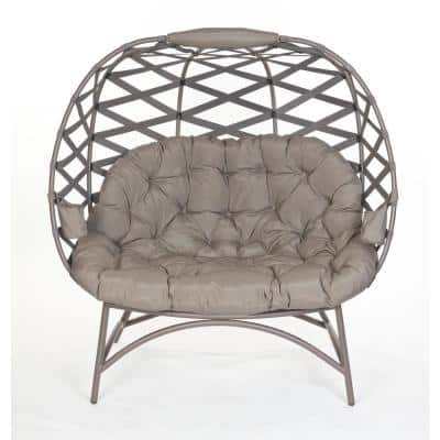Cozy Pumpkin 4-legged Metal Outdoor Lounge Chair with Sand Cushion in Crossweave