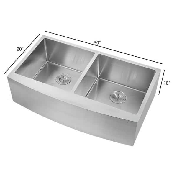 Farmhouse Stainless Steel 30 In 2 Hole 30 20 Double Bowl Kitchen Sink Hfe3020 The Home Depot