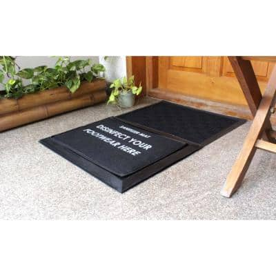 Sanitizer Black 24 in. x 36 in. Rubber Sanitizer DoorMats