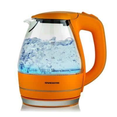 Illuminated 6.5-Cup Orange Electric Kettle with Filter, Fast Heating and Auto-Shut Off