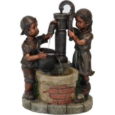24 in. Jack and Jill at Water Pump and Well Outdoor Cascading Fountain