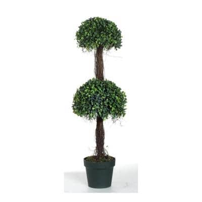2-Tier Potted Boxwood Green/Black Topiary