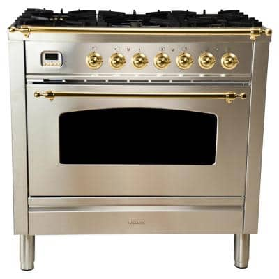 36 in. 3.55 cu. ft. Single Oven Italian Gas Range True Convection,5 Burners, Griddle, LP Gas, Brass Trim/Stainless Steel