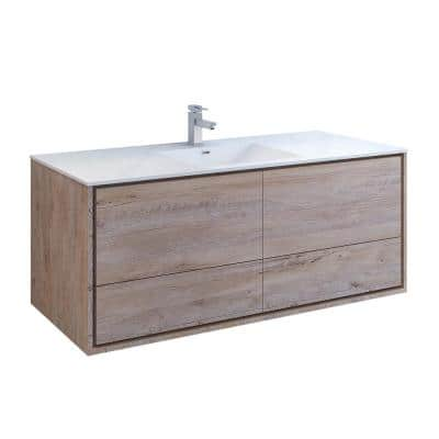 Catania 60 in. Modern Wall Hung Bath Vanity in Rustic Natural Wood with Vanity Top in White with White Basin