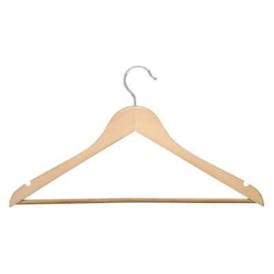No Slip Wooden Coat Hangers, Maple Wood (24 Pack)