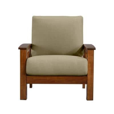 Virginia X-Design Arm Chair with Exposed Cherry Wood Frame in Barley Tan Linen