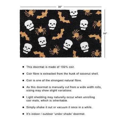White 18 in. x30 in. Machine Tufted Spider web & Skeletons Doormat