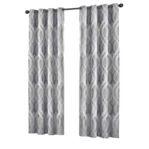 Silver Trellis Thermal Blackout Curtain - 52 in. W x 95 in. L