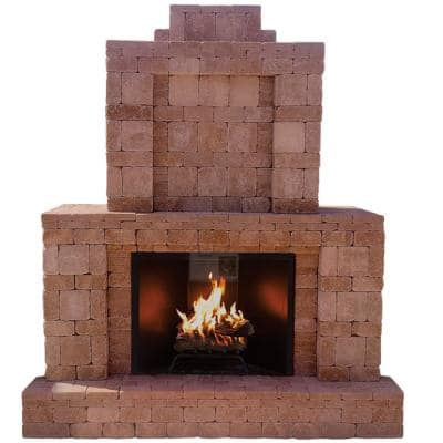 RumbleStone 84 in. x 38.5 in. x 94.5 in. Outdoor Stone Fireplace in Cafe