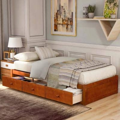 Oak Twin Size Platform Storage Bed with 3 Drawers Storage