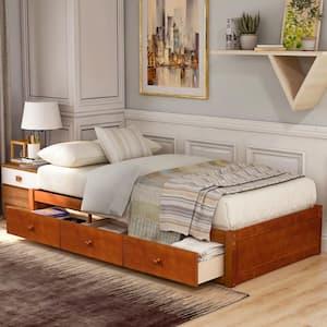 Oak Twin Size Platform Storage Bed with 3 Drawers Storage