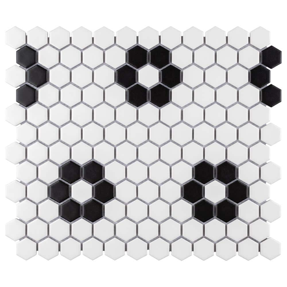 merola tile metro hex matte white with flower 10 1 4 in x 11 3 4 in x 6 mm porcelain mosaic tile 0 84 sq ft each fdxmhmwf the home depot