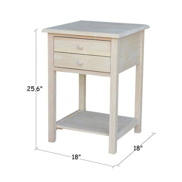 International Concepts Unfinished Lamp Table With 2 Drawer Ot 92 The Home Depot
