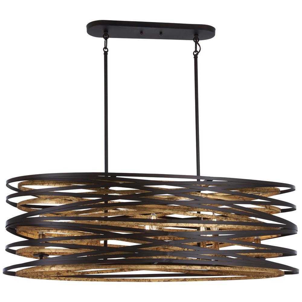 Vortic Flow 8-Light Dark Bronze with Mosaic Gold Interior Billiard Light