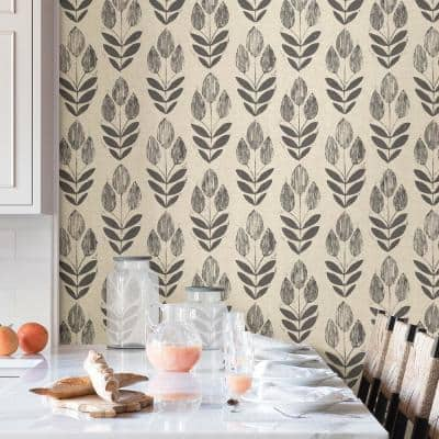 Folk Tulip Neutral Wallpaper Sample