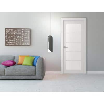 30 in. x 80 in. Smart Pro Polar White Solid Core Wood 5-Lite Frosted Glass Interior Door Slab No Bore