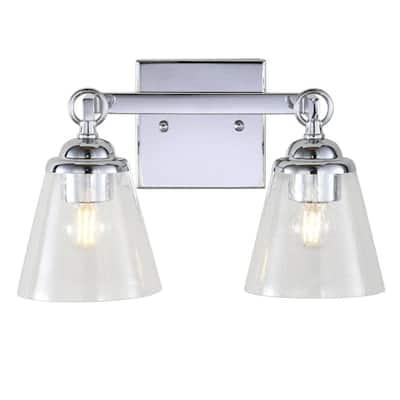 Marion 12.75 in. 2-Light Hurricane Metal/Glass Chrome Vanity Light