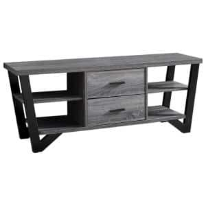 Jasmine 16 in. Grey and Black Particle Board TV Stand with 2 Drawer Fits TVs Up to 60 in.