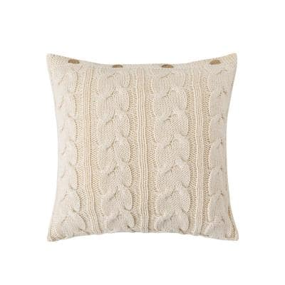 Cable Knit Ivory 20 in. L x 20 in. W Throw Pillow