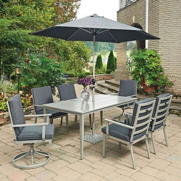 Homestyles Captiva 72 In Charcoal Gray Cast Aluminum Rectangular Outdoor Dining Table 6700 31 The Home Depot