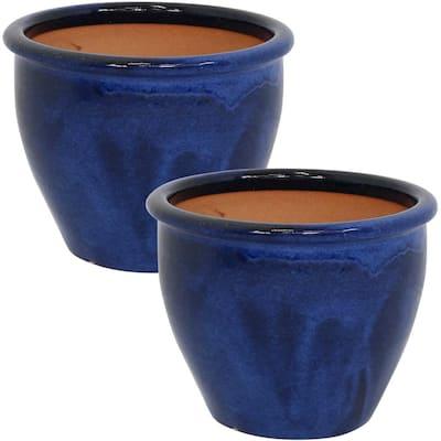 Chalet 12 in. Blue Ceramic Indoor/Outdoor Planter (Set of 2)