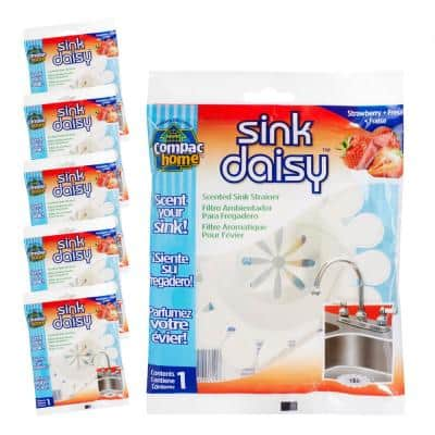 6 Count Sink Daisy Strawberry Scented Kitchen Sink Strainer (3-pack for total of 6)