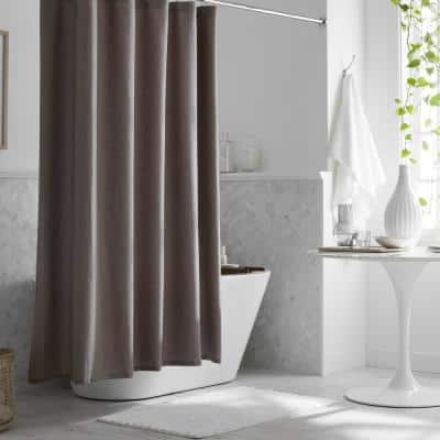 Legends Hotel Relaxed Linen 72 in. Cinder Shower Curtain