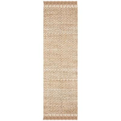 Natural Fiber Beige/Gray 3 ft. x 8 ft. Runner Rug
