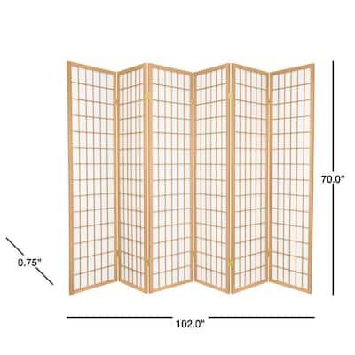 6 ft. Natural 6-Panel Room Divider