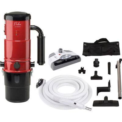 CV12000 Red Central Vacuum Power Unit with Electric Hose and Power Nozzle Kit