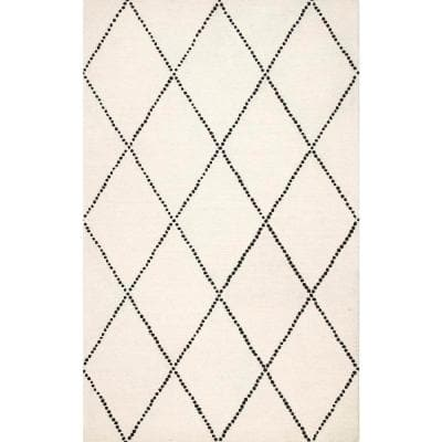 Dotted Diamond Trellis Ivory 5 ft. x 8 ft.  Area Rug