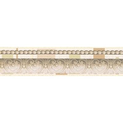 Falkirk Dandy Beige, Sepia, Cream Crown Molding Victorian Peel and Stick Wallpaper Border