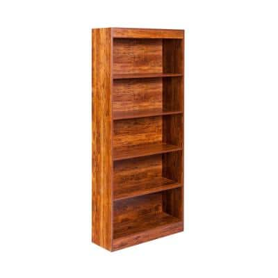 Essential 68.9 in. Golden Cherry Faux Wood 5-shelf Standard Bookcase with Adjustable Shelves