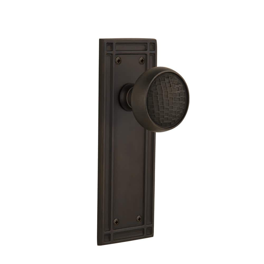Nostalgic Warehouse Mission Plate 2 3 4 In Backset Oil Rubbed Bronze Privacy Bed Bath Craftsman Door Knob 717213 The Home Depot