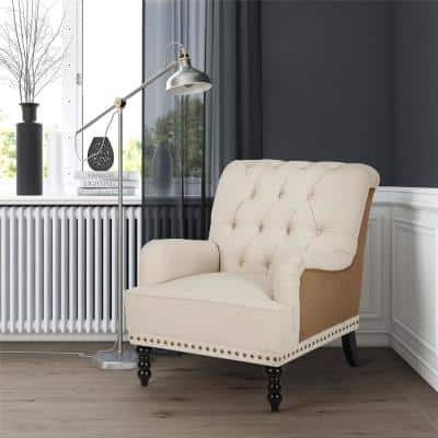 Stevie Beige and Brown Charles of London Arm Chair